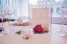 acrylic wedding details - photo by Shannon Grant Photography http://ruffledblog.com/rose-quartz-wedding-inspiration