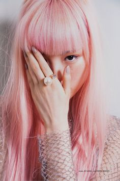 """Fernanda photographed by Bonnie Hansen for 1 AM Magazine. The cool editorial """"1 AM – Fernanda"""" highlights Fernanda's memorable pink hair combining subtle pastel colours styled by Nicole Adler. Photographer: Bonnie Hansen Model: Fernanda Hin Lin Ly Stylist: Nicole Adler Hair & Make-up: Samantha Patrikopoulos"""