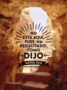 Mateo 28:6 No está aquí, pues ha resucitado, como dijo.