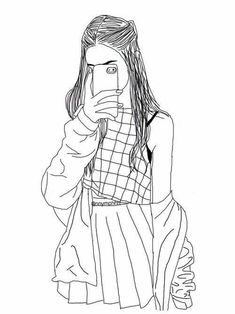 Hipster Girl Drawing Outline Sketch Coloring Page Hipster Girl Drawing, Tumblr Girl Drawing, Tumblr Sketches, Hipster Drawings, Girl Drawing Sketches, Tumblr Drawings, Tumblr Art, Girl Sketch, Cute Drawings