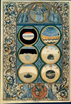 Illuminated Creation of the World from Biblia latina, Venise, printed by Nicolas Jenson, 1476 Medieval Manuscript, Medieval Art, Illuminated Letters, Illuminated Manuscript, Book Of Hours, Prayer Book, Tarot, Religious Art, Sacred Geometry