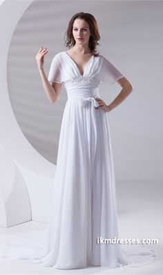 http://www.ikmdresses.com/breathtaking-V-neck-Flared-Sleeves-A-Line-Chiffon-Satin-p23474