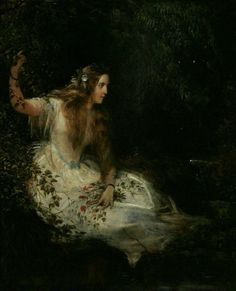 Ophelia. Oil on Canvas. 76 x 62 cm.  English School.19th Century.