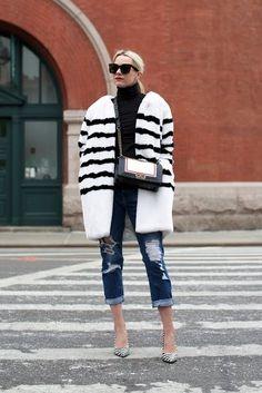 2.16 black // white // m.gemi (Stylenanda faux fur coat + Vince Camuto 'favorite' turtleneck + AG 'the ex BF' slim jeans + M.Gemi 'the esatto' graphic print snakeskin heels + Chanel bag)