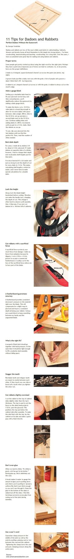 11 Tips for Dadoes and Rabbets, but really only 11 is new to me but so helpful #woodworkingtools