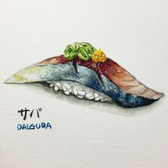 "189 Likes, 10 Comments - watercolor food painting/맛있는그림 (@dalgura) on Instagram: ""고등어초밥 좋아하시나요? 전 아직 좋은 고등어초밥을 먹어본 적이없네요.. サバ寿司好きですか?私はまだ新鮮な美味しいサバ寿司は食べたことありませんね。。。残念です。…"""