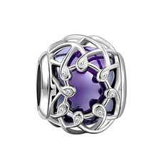 SOUFEEL Purple Net Heart Crystal Charms 925 Sterling Silver Fit European Bracelets Necklaces Best Giftss * Read more reviews of the product by visiting the link on the image.-It is an affiliate link to Amazon. #Bracelet