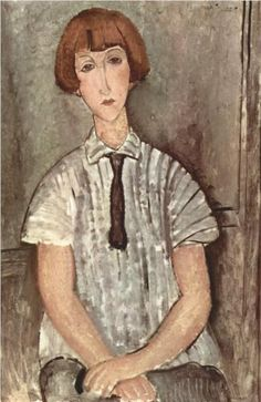 Global Gallery 'Young Girl In a Striped Shirt' by Amedeo Modigliani Painting Print on Wrapped Canvas Amedeo Modigliani, Modigliani Paintings, Italian Painters, Italian Artist, Painting & Drawing, Painting Prints, Art Prints, Painting Clouds, Franz Marc