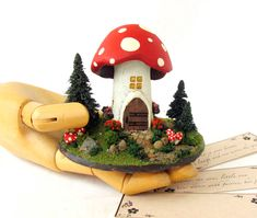 The Mushroom Fairy Messenger House -  Child's Room or Fairy Shrine Decor - Miniature Fairy World wih Trees and Stone Pathway. $67.00, via Etsy.