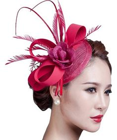 Sinamay Fascinator Hat Feather Party Pillbox Hat Flower Derby Hat for Women