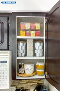 Get your kitchen cabinets organized and ready for holiday guests--shop our coffee and tea storage products here! (Photo by @ClutterBug_Me) Kitchen Cabinet Organization, Storage Cabinets, Storage Shelves, Storage Organization, Shop Cabinets, Kitchen Cabinets, Tea Storage, Container Store, Great Coffee