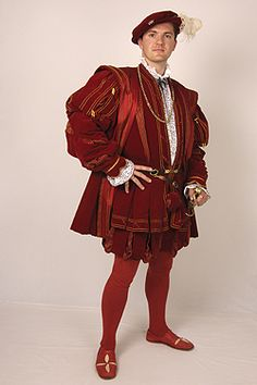 Tudor Tailor - courtier's suit made for JMD at Hampton Court Palace. Based on a painting in the Royal Collection of an unknown man. Suit consists of doublet, hose and gown and bonnet in red silk velvet with red and gold striped 'pullings out'. Mode Renaissance, Renaissance Fair Costume, Medieval Costume, Renaissance Fashion, Renaissance Clothing, Dinastia Tudor, Tudor Tailor, 16th Century Clothing, 16th Century Fashion