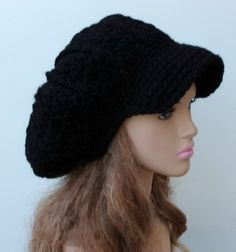 New to PurpleSageDesignz on Etsy: Black women men Cap Visor Tam Hat Slouchy Newsboy Bill Beanie Billed (24.00 USD)