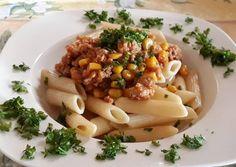 Kukoricás darált húsos penne Penne, Risotto, Ethnic Recipes, Food, Essen, Meals, Yemek, Pens, Eten