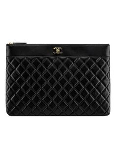 Large pouch, sheepskin & light gold metal-black - CHANEL