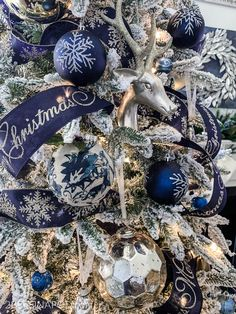 Please note that this post contains affiliate links and any sales made through such links will reward me a small commission – at no extra cost for you.Welcome To The Annual Christmas Tree… Blue Christmas Tree Decorations, Silver Christmas Tree, Christmas Mantels, Christmas Colors, Christmas Themes, White Christmas, Christmas Villages, Elegant Christmas, Victorian Christmas