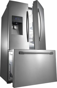 Samsung - 24.6 Cu. Ft. French Door Refrigerator with Thru-the-Door Ice and Water - Stainless Steel - Angle Zoom