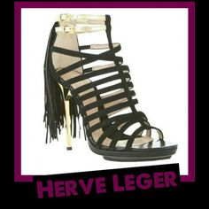 ** Authentic Herve Leger Fabia Heels *** These babies are amazing!! This is your chance to own some fabulous designer shoes at a fraction of the retail cost.  These are in great condition only worn one day for a fashion show & photoshoot. Worn only indoors for a few hours. As you can see from the last photo the bottoms are in near perfect condition.   * Originally retailed for over $1,400  *No box*  *Reasonable offers considered. Herve Leger Shoes Heels