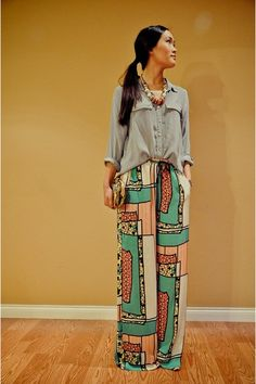 Print for pants - the loose top looks surprisingly good with this.