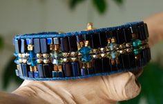 BLACK Gold & Blue Hand-Woven CUFF Bracelet by BraceletsofBlueRidge