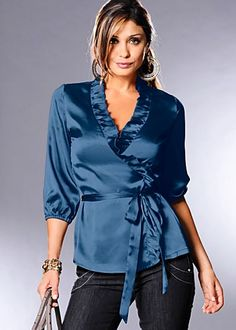 Ruffle blouse with wrap