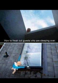 How to freak out guests who are sleeping over.haha I can see myself doin this lol Pranks To Pull, Good Pranks, Funny Pranks, Funny Jokes, Awesome Pranks, Hilarious Quotes, Jokes Quotes, It's Funny, Funny Cartoons