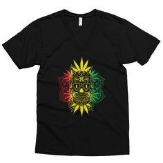 Dia De Muertos Rasta  Men's short sleeve v-neck Cannabis Themed Marijuana