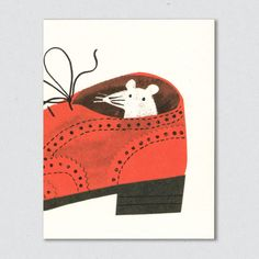 Little white mouse hides out in a bright red brogue, illustration for greetings card from Lisa Jones Studio