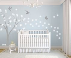 Baby Nursery Vinyl Decal Wall Art Sticker Tree Flowers and by EmpireCityStudios, $108.95