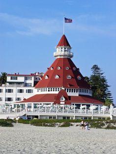 Hotel Del Coronado on the beach at Coronado, California (San Diego).