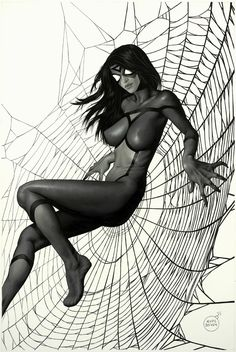 Spider-Woman by Aype Beven, in Carlos Simoess Whispers in the Night Comic Art Gallery Room - 998371 Comic Book Heroes, Marvel Heroes, Comic Books Art, Marvel Dc, Marvel Girls, Comics Girls, Black Spiderman, Pin Up, Spider Girl