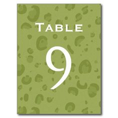 Olive Green Leopard Table Number Part of Set of 12 Postcards
