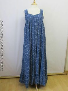 vintage SIZE 10 LAURA ASHLEY MADE IN WALES FLORAL MAXI DRESS RARE FIND E13
