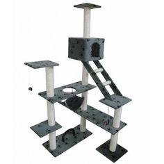 Cat Scratching Tower Playground  Ladder Activity Centre Climbing Paw Prints Grey #CatScratchingTower
