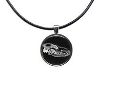 Wolf pendant Animal necklace Skull jewelry by blacknwhitenecklace