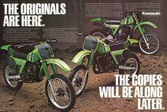 1981 Kawasaki KX125, KX250, KX420 Uni-Trak Vintage Dirt Bike Motorcycle Ad Brochure...