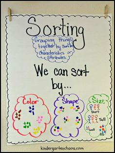 Do you love and use anchor charts as much as I do? Then you are going to love these Must Make Kindergarten Anchor Charts! Why anchor charts in Kindergarten? I use anchor charts almost every day a Sorting Kindergarten, Kindergarten Anchor Charts, Kindergarten Lesson Plans, Preschool Math, Kindergarten Activities, Teaching Math, Maths, Patterning Kindergarten, Teaching Ideas