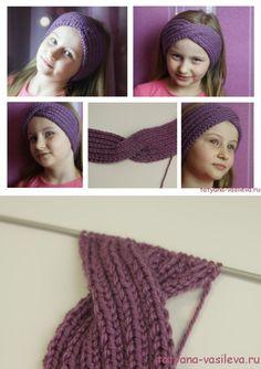 Вязаная повязка на голову спицами с описанием | Блог Васильевой Татьяны