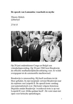 De speech van Lumumba: mythe en waarheid by Thierry Debels via slideshare