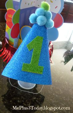 Baby Boy's First Birthday Party - DIY Number 1 hat - inexpensive, cheap idea for 1st birthday