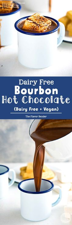 Dairy Free Bourbon Hot Chocolate - a luscious, rich decadent dairy free french hot chocolate with a splash of bourbon to warm you up from the inside! Vegan and dairy free. via Dini @ The Flavor Bender Healthy Alcoholic Drinks, Drink Recipes Nonalcoholic, Best Cocktail Recipes, Drinks Alcohol Recipes, Punch Recipes, Yummy Drinks, Vegan Dessert Recipes, Dairy Free Recipes, Easy Desserts