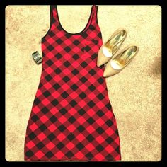 Red Plaid Dress Worn once. Really cute and form fiting Dresses