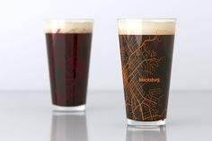 A pair of 16 oz pint glasses featuring a map of the campus, streets and neighborhoods of iconic U.S. college towns, printed with crisp detail in