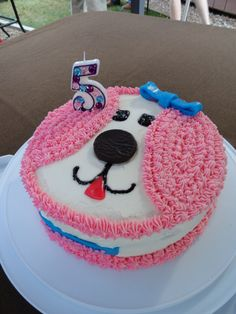 made this cute puppy cake and added the bedazzled birthday candle...both ideas came from different pinners!