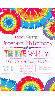 Tie dye party invitation