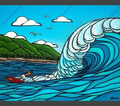 Matted artwork by Heather Brown featuring Gerry Lopez surfing a huge wave at Pipeline, North Shore of Oahu. Heather Brown Art, Huge Waves, North Shore Oahu, Christmas Aprons, Wave Art, Tropical Art, Tropical Flowers, Surf Art, Glass Art
