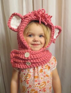 Darling Pink Hooded Cowl Winter New Baby Toddler by simplyyarn27