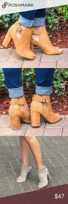 Peep-Toe Tan Ankle Boots These Ankle Boots are to die for. Buckle Closure. Synthetic. Peep-Toe. Tan. Qupid Shoes Ankle Boots & Booties