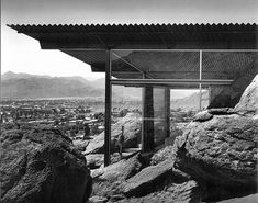 Albert Frey - The Frey House II (1963) appears to grow from the craggy rocks of the San Jacinto mountain overlooking Palm Springs, California.