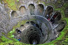 Pozo iniciatico, Quinta da Regaleira, Portugal. The spiral staircase has 9 levels, invoking Dante's Divine Comedy.